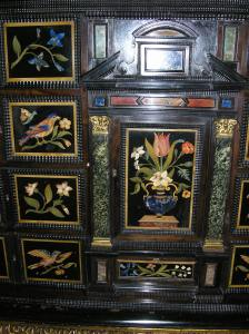Close up of left hand side of Pietra Dura Cabinet ©Penshurst Place