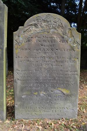 Headstone for Nicholas Seaton image Rachael Hale (The History Magpie)