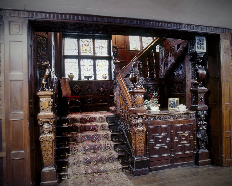 The spectacular carved staircase at Godinton House, Nr Ashford. Kent Copyright belongs to Godinton House