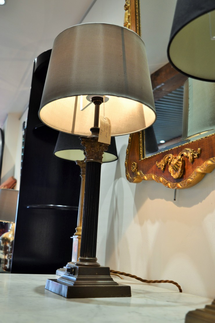 Beautiful antique lamps on show at Marchand Antiques. Image copyright Rachael Hale