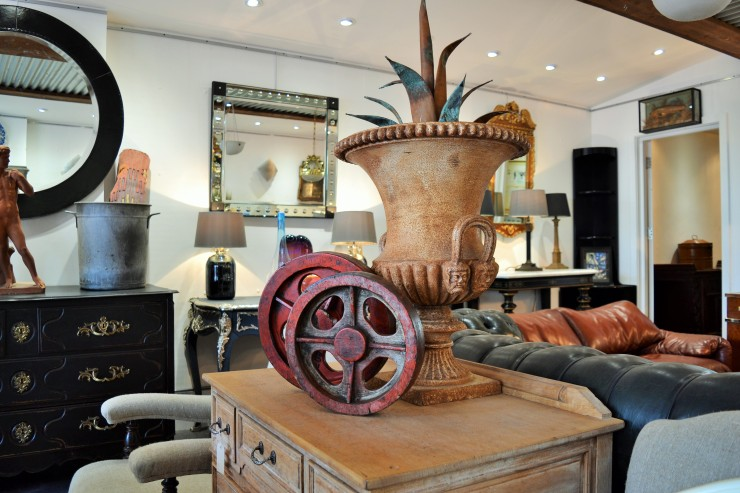 Interior image of Marchand Antiques showroom in Sevenoaks. Image copyright Rachael Hale