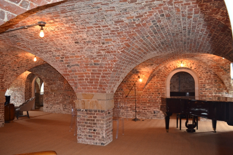 The main performance space within Finchcocks Piano School's music cellar. Image copyright Rachael Hale